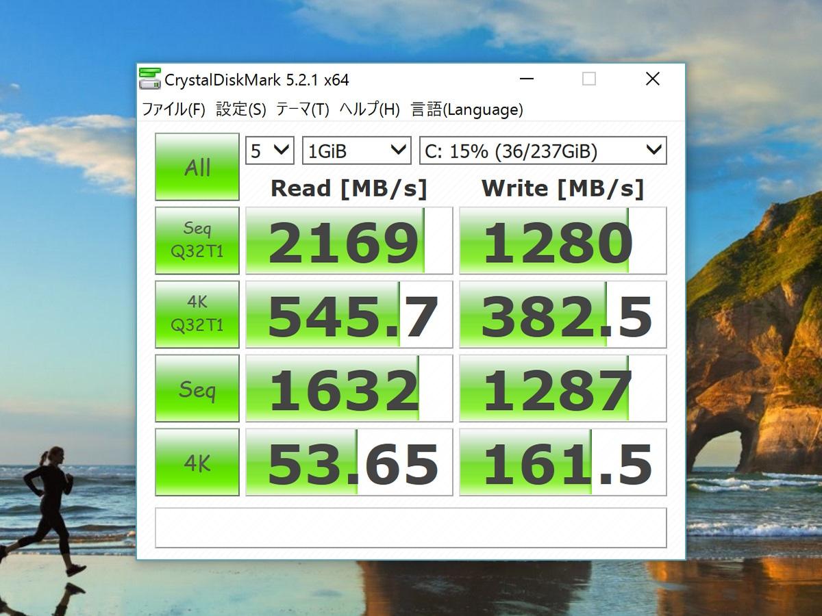 PCIe SSD スピードテスト