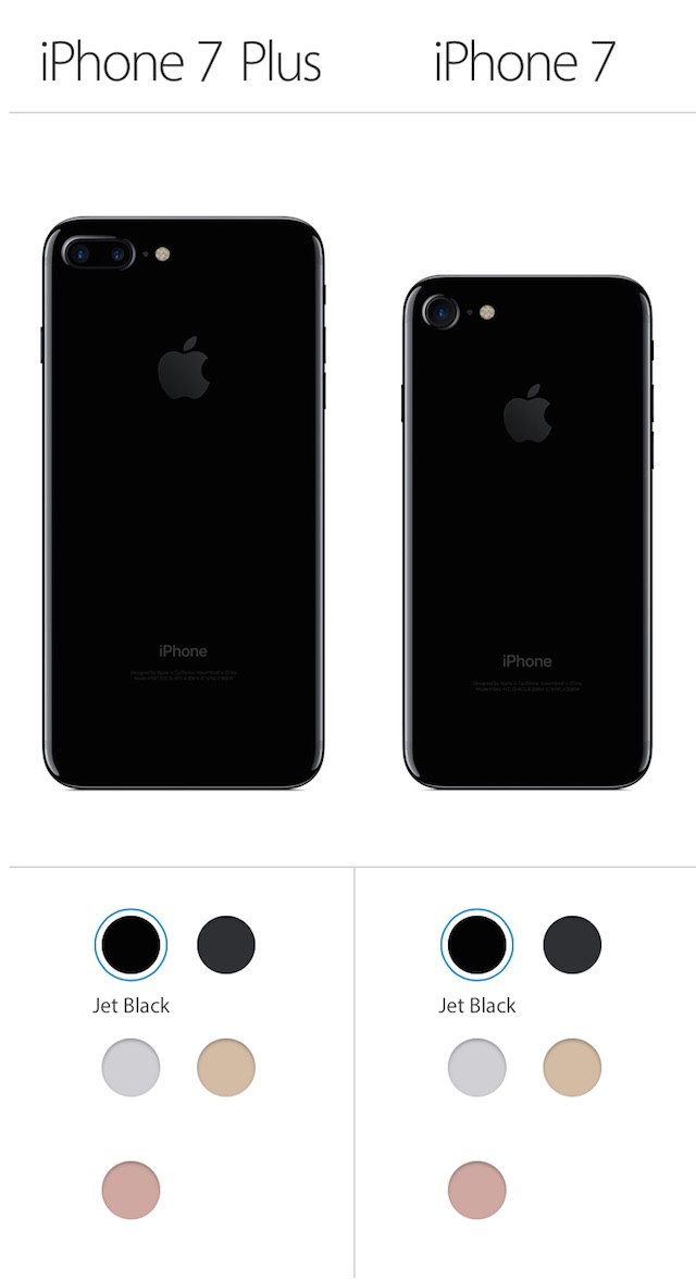 iPhone 7、7 Plus カラーバリエーション