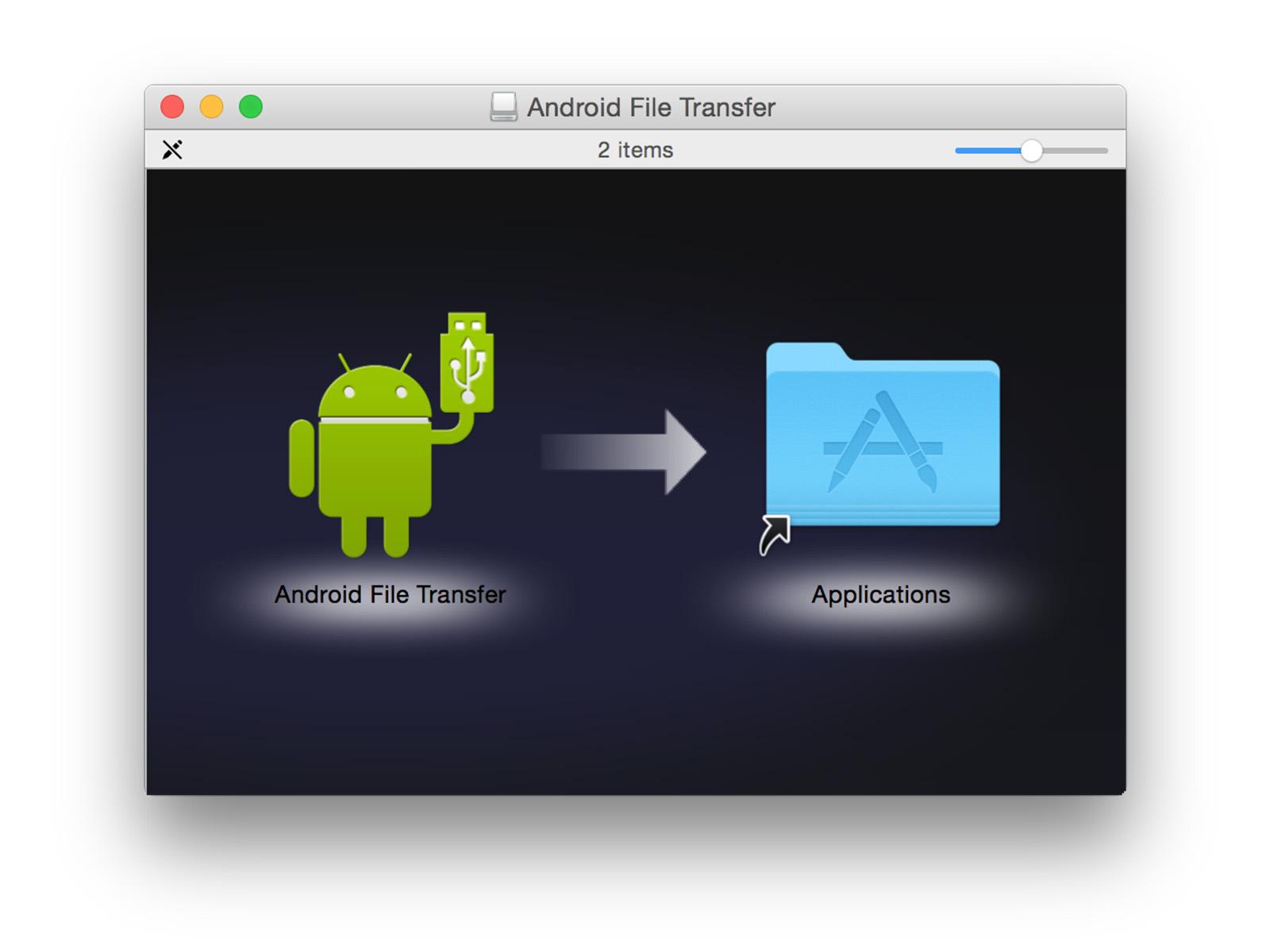 Android File Transfer ドラッグアンドドロップ