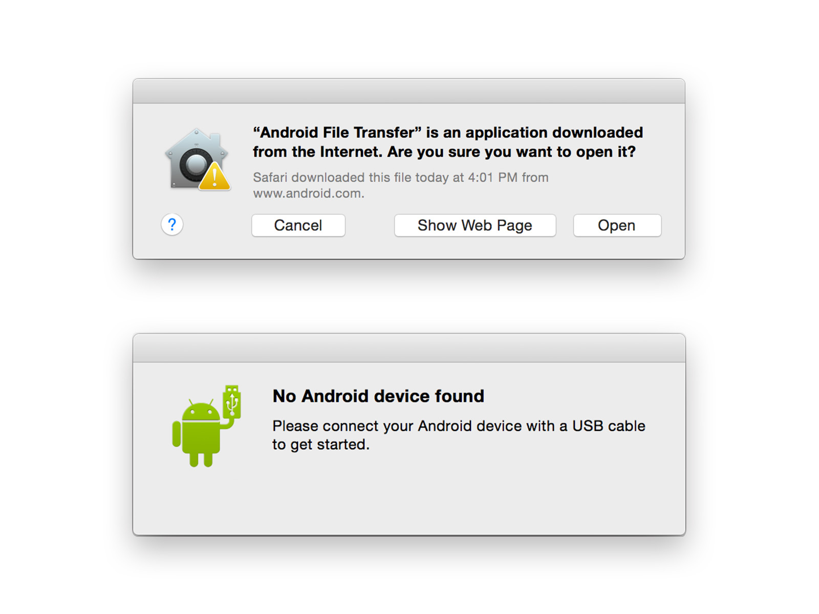 Android File Transfer 起動