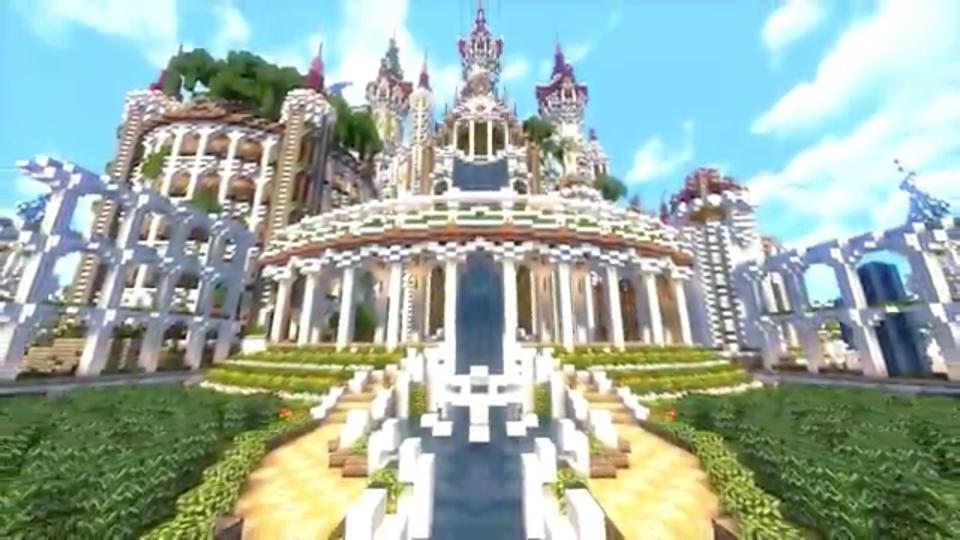 四角い世界に海にきらめく魔法の城を築いてみた-02
