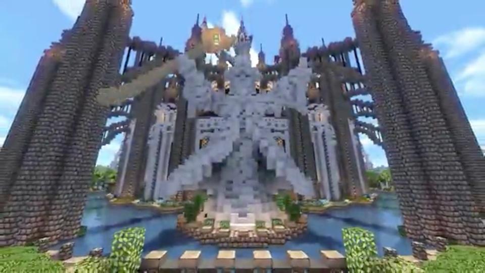 四角い世界に海にきらめく魔法の城を築いてみた-04