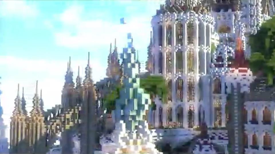 四角い世界に海にきらめく魔法の城を築いてみた-05