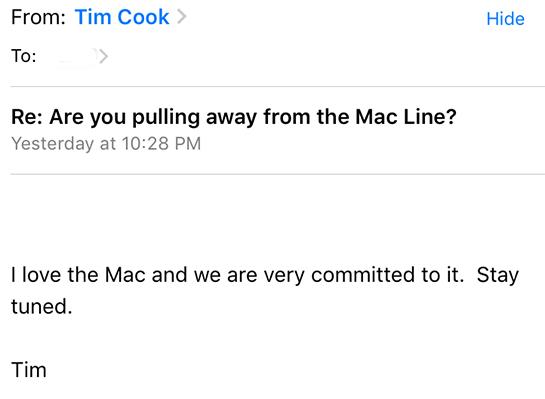 ティム・クック 新Mac登場を示唆させるメール