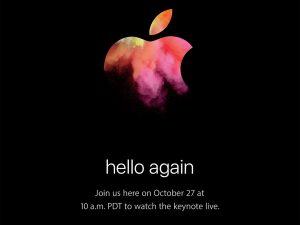 Apple 2016年10月27日 発表イベント hello again