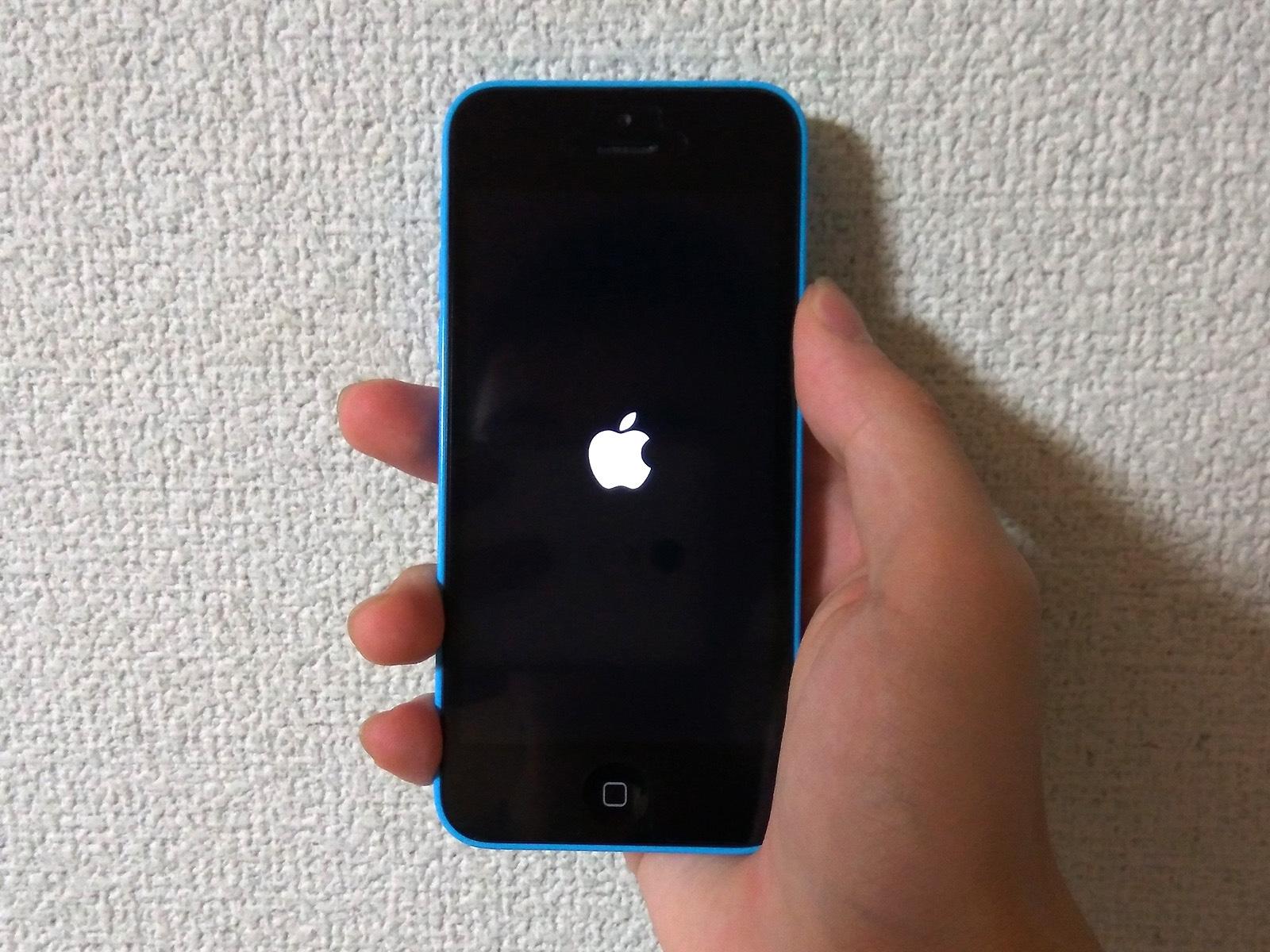 iPhone 5c バッテリー交換 起動確認