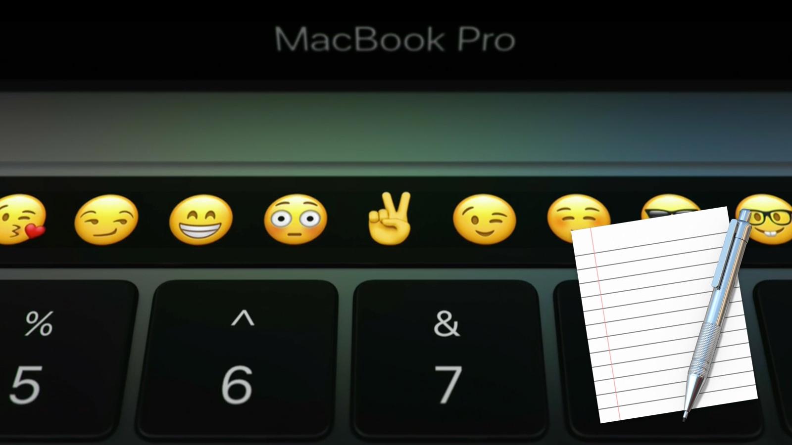 2016年 MacBook Pro タッチバー 絵文字