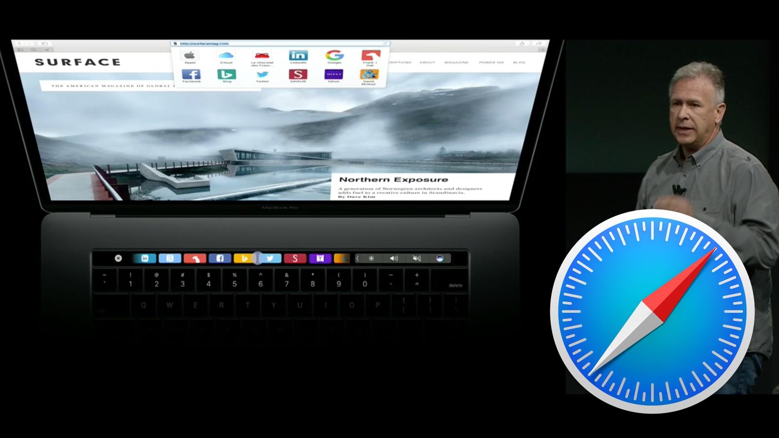 2016年 MacBook Pro タッチバー Safari