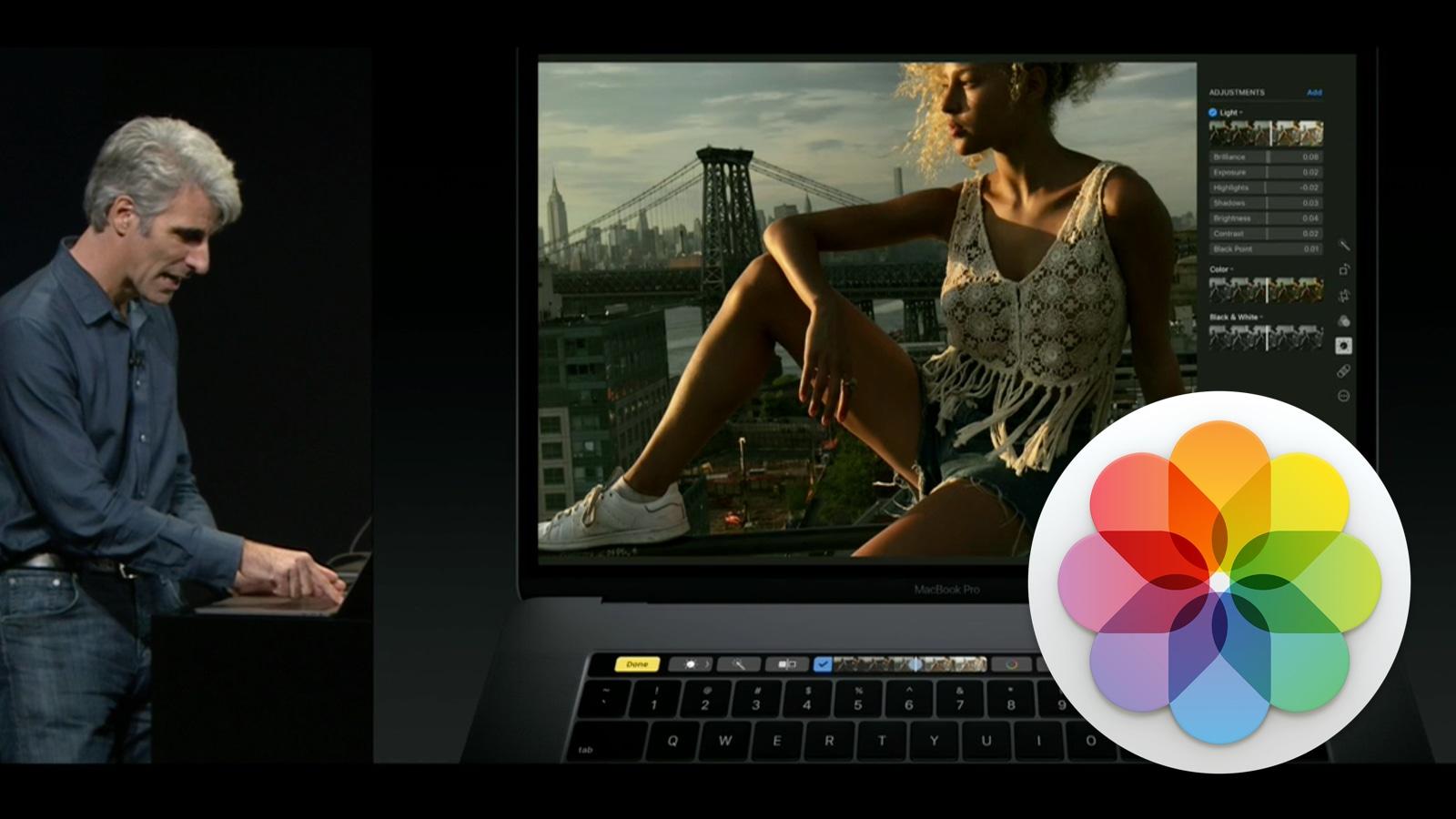 2016年 MacBook Pro タッチバー 画像編集