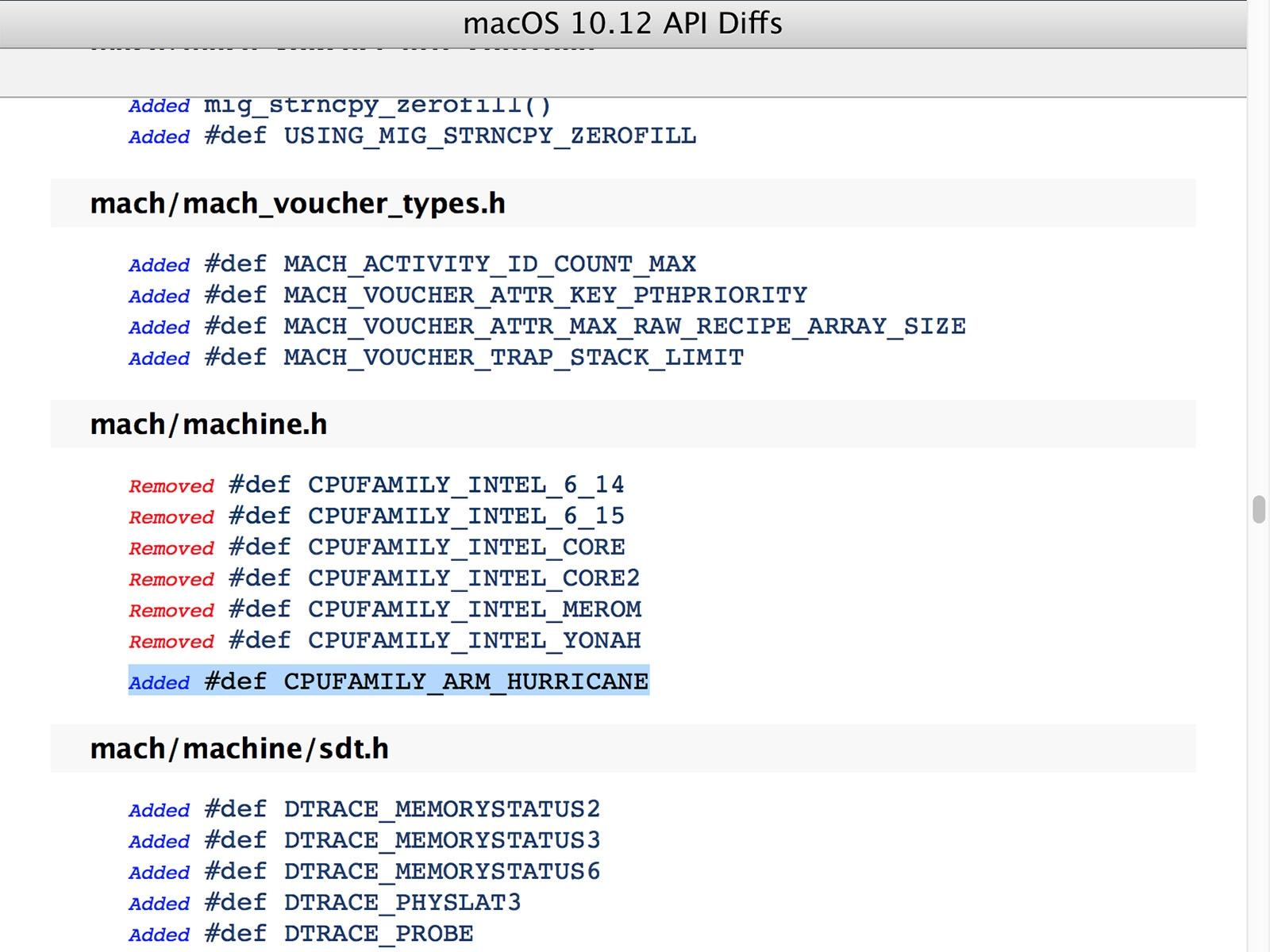mac OS 10.12 Sierra カーネル内の記述