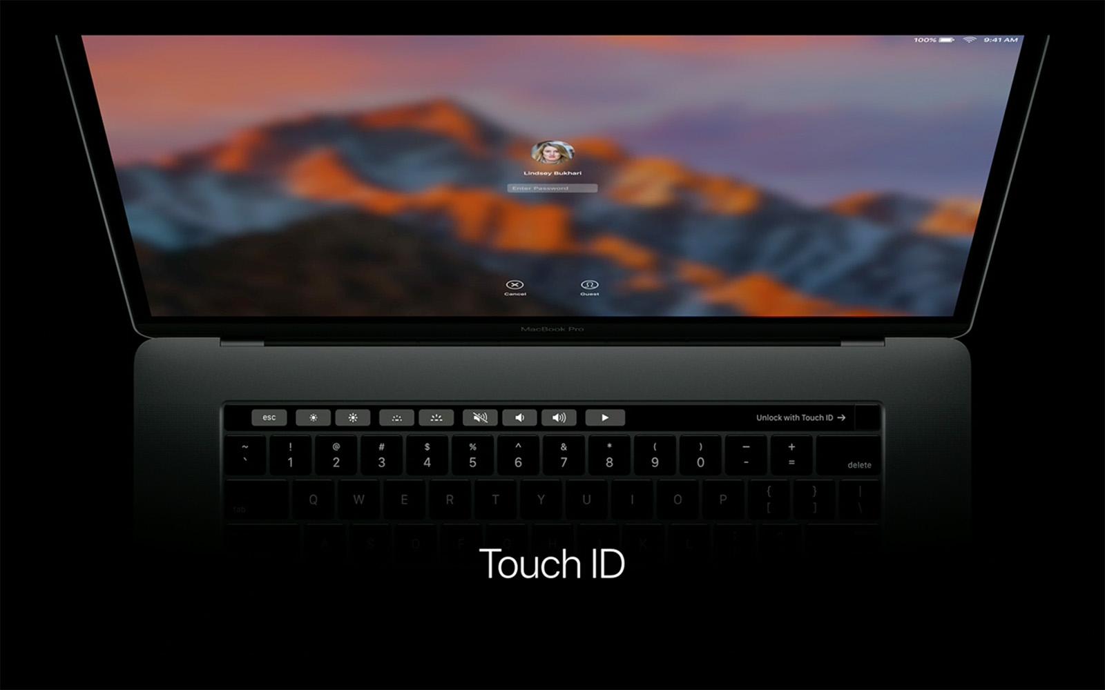 2016年 MacBook Pro Touch ID 指紋認証 ログイン画面