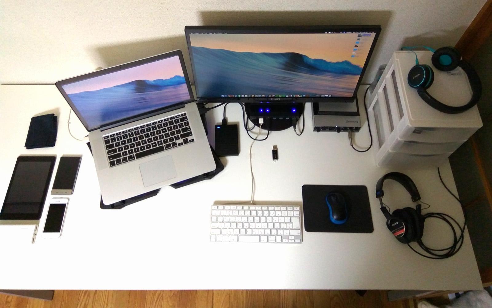 サンワサプライ パソコンデスク 100-DESK080W デスクセットアップ 真上から