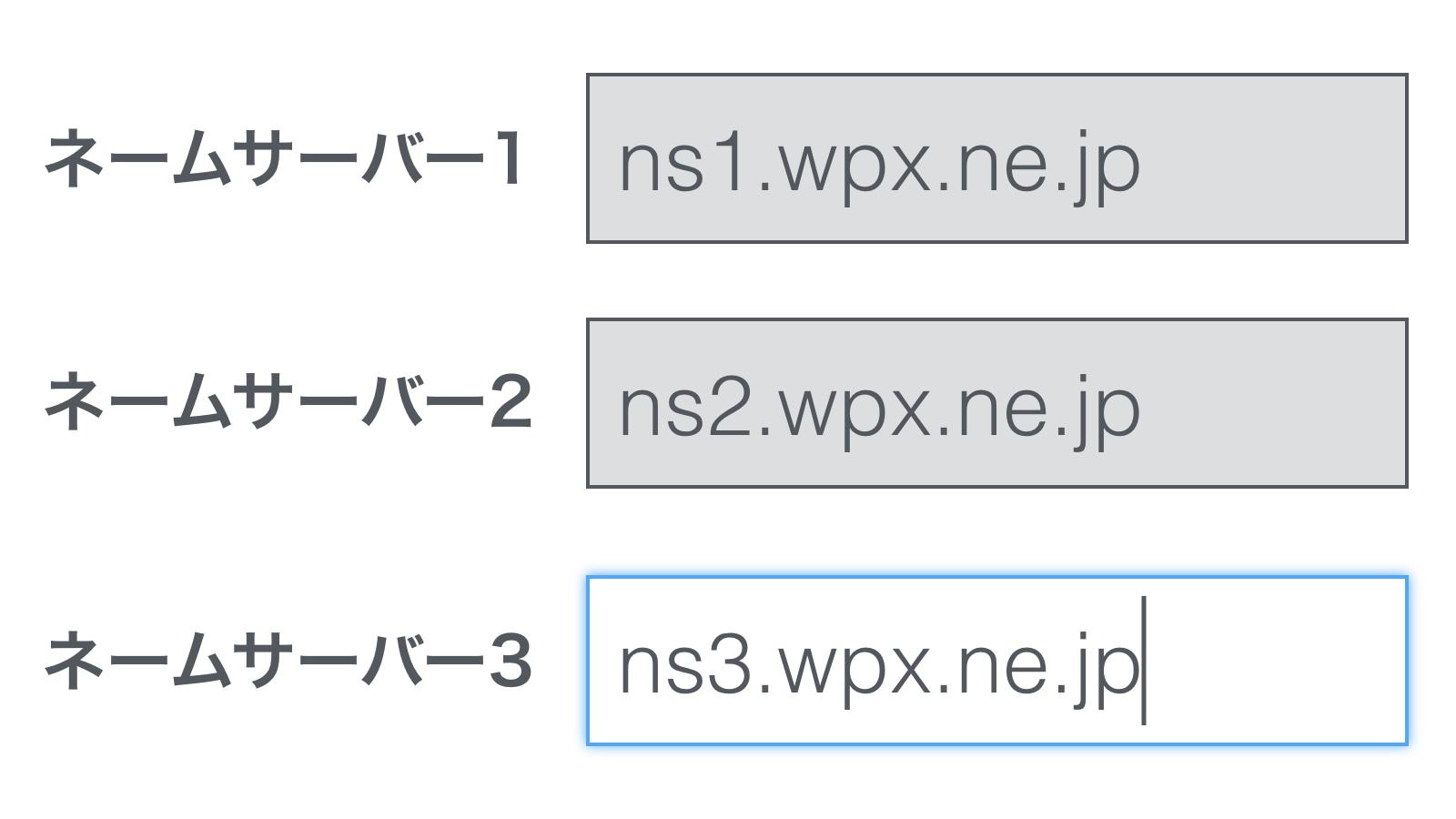 wpXレンタルサーバー ネームサーバー設定