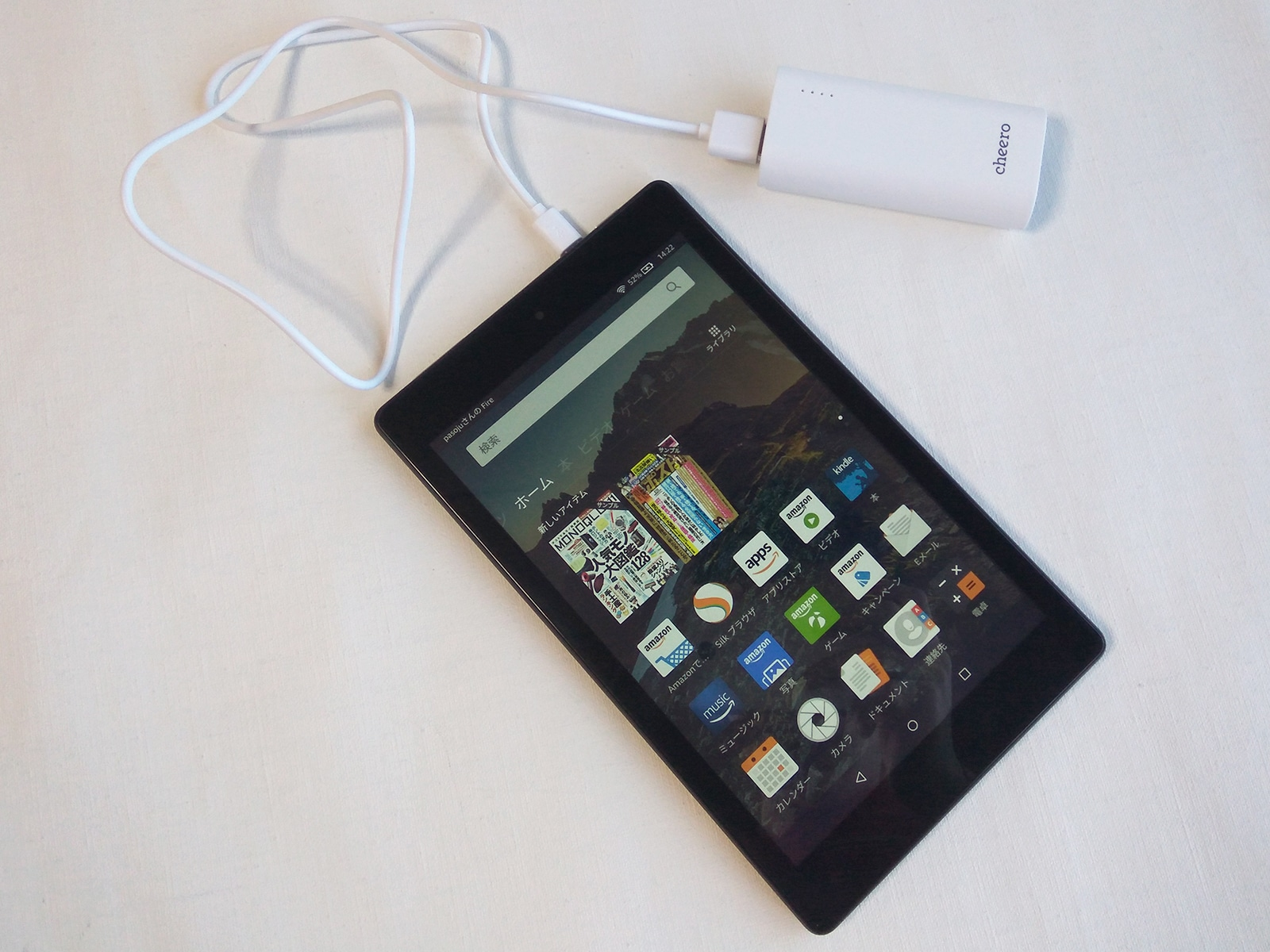 cheero Power Plus 3 mini 5200mAh タブレットを充電