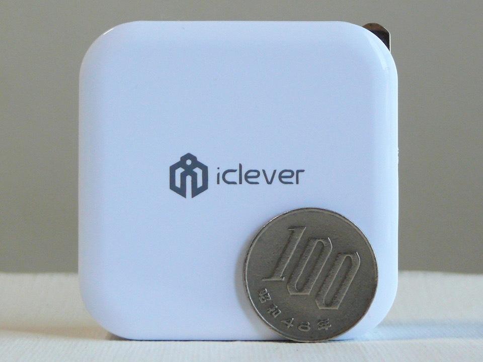 iClever USB充電器 100円玉とのサイズ比較