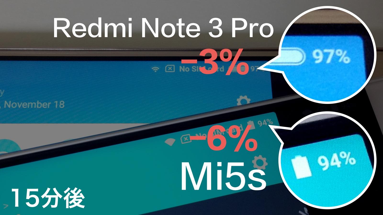 Xiaomi Mi5s バッテリー持ち 比較 15分後
