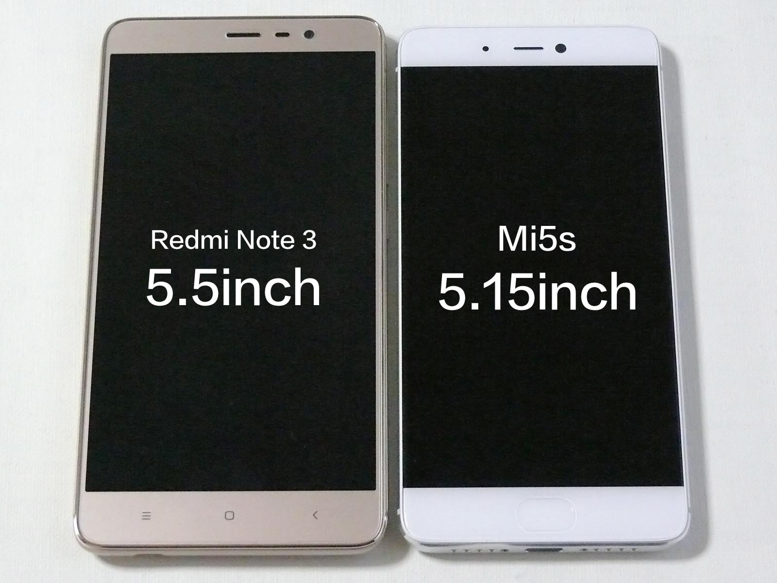 Xiaomi MI5sとRedmi Note 3 Proのサイズ比較