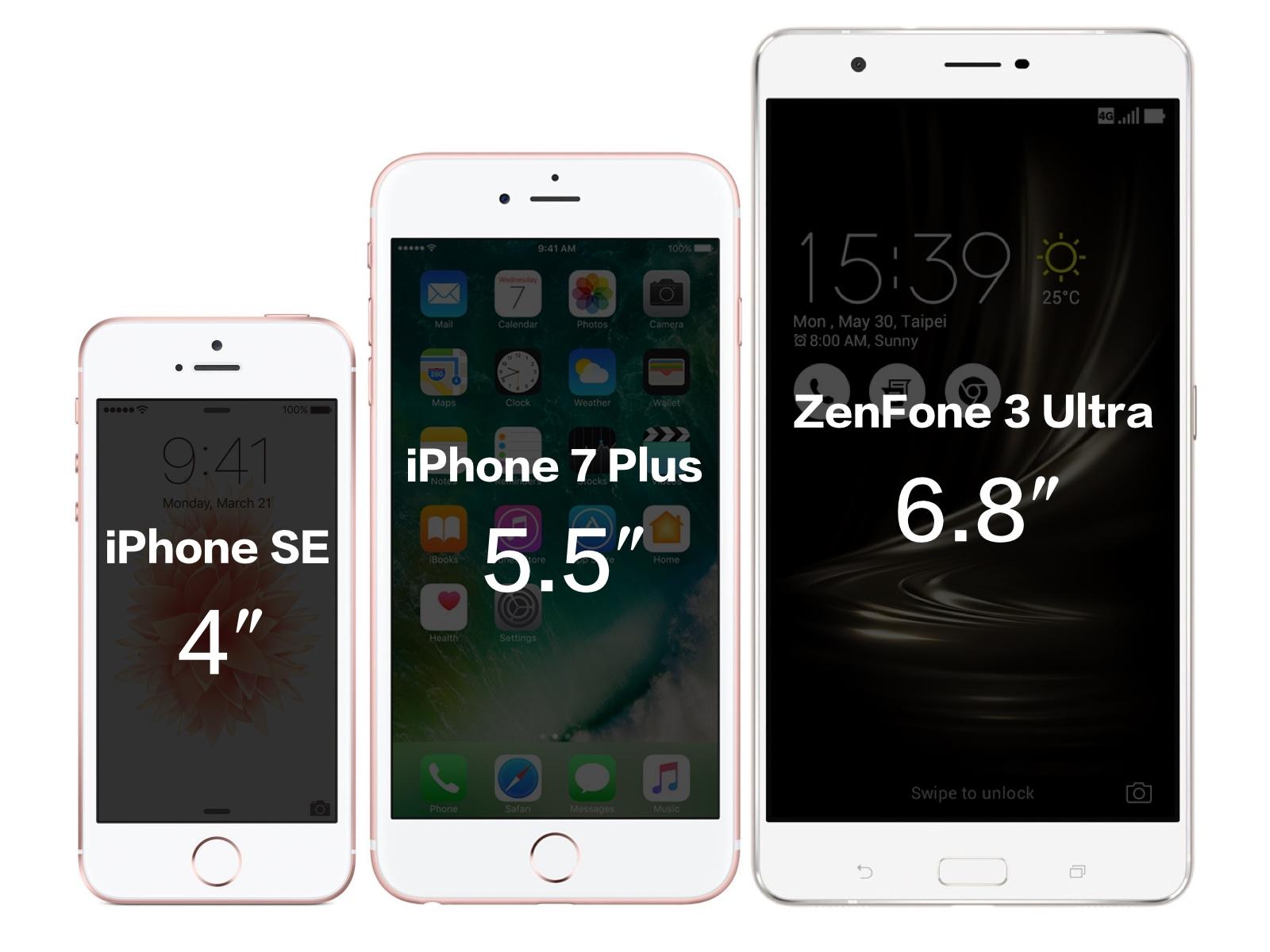 ASUS ZenFone 3 UltraとiPhoneのサイズ比較