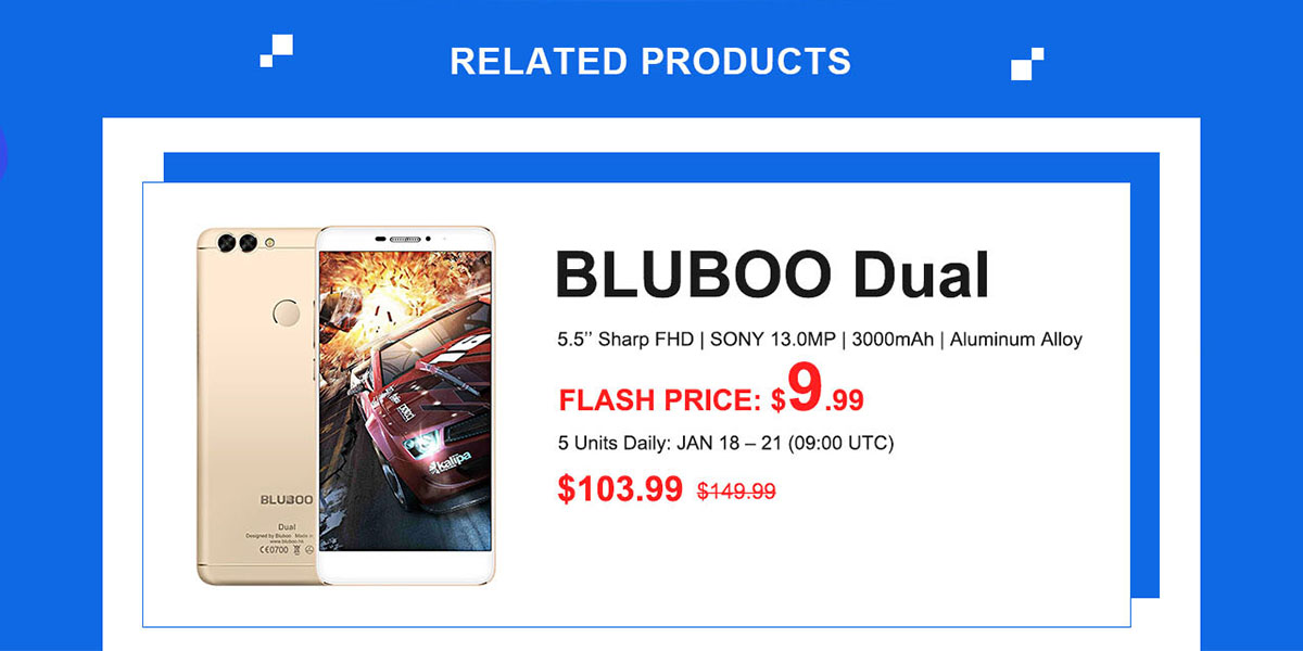 Bluboo Dual フラッシュセール