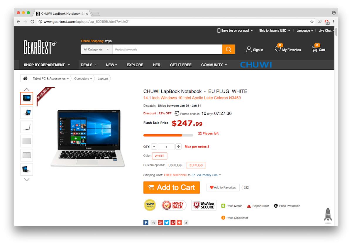 CHUWI LapBook 14.1インチモデル GearBest販売ページ