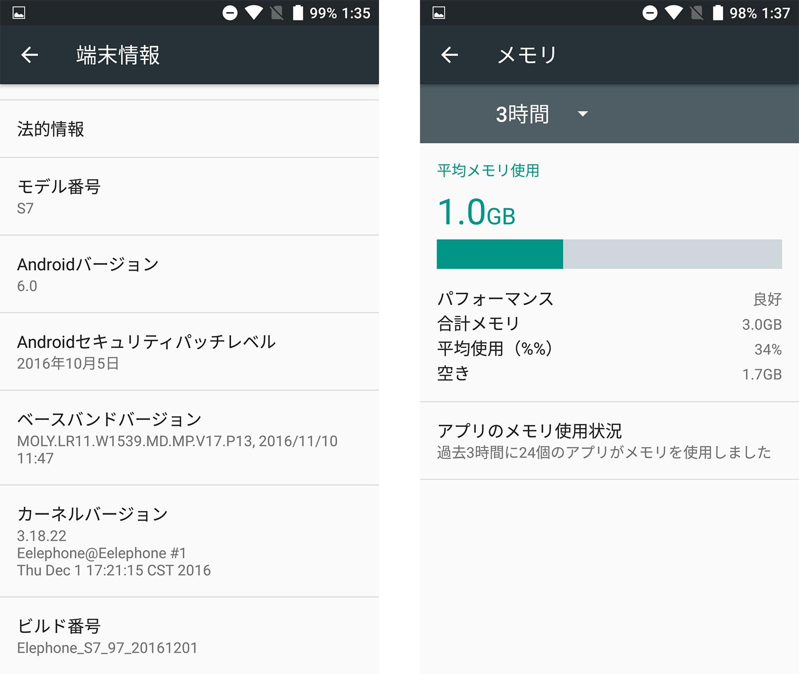 Elephone S7 スペック