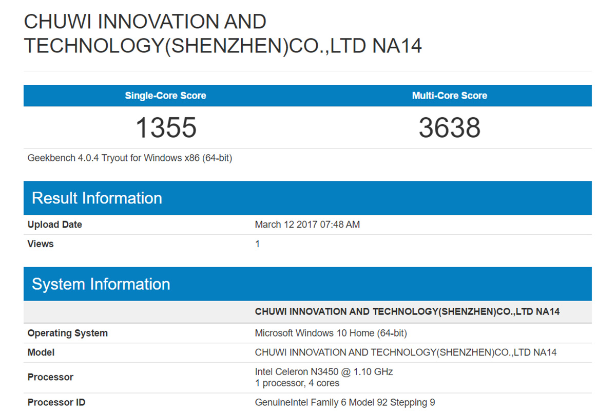 CHUWI LapBook 14.1 Geekbench
