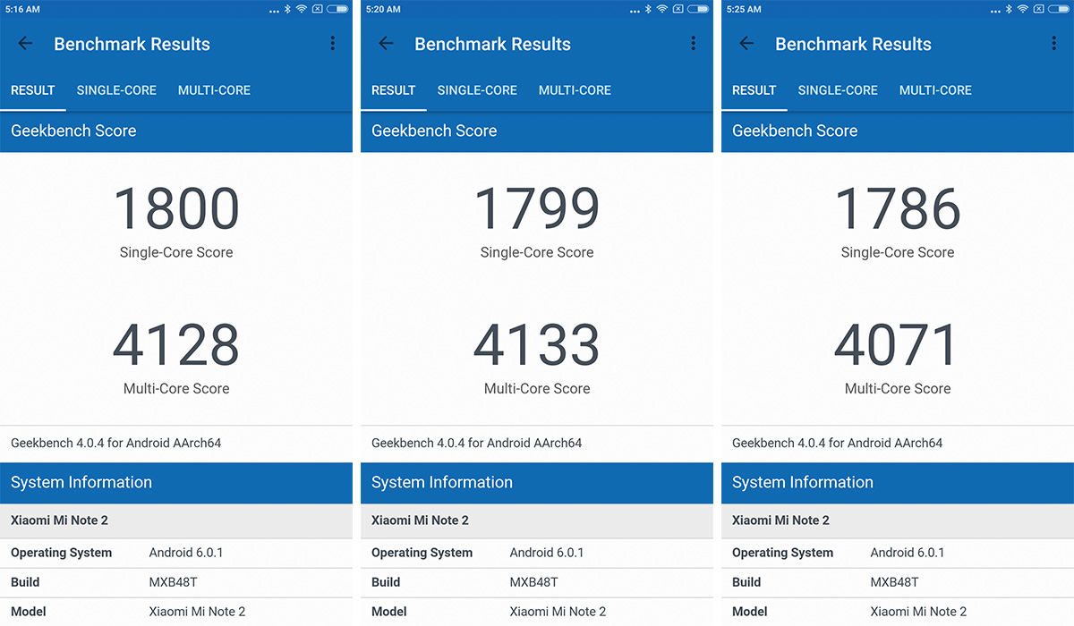 Xiaomi Mi Note 2 Geekbench