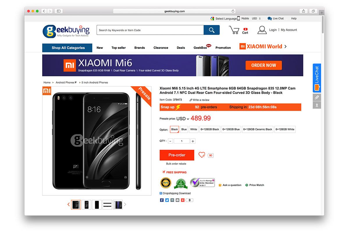 Xiaomi Mi6 Geekbuying