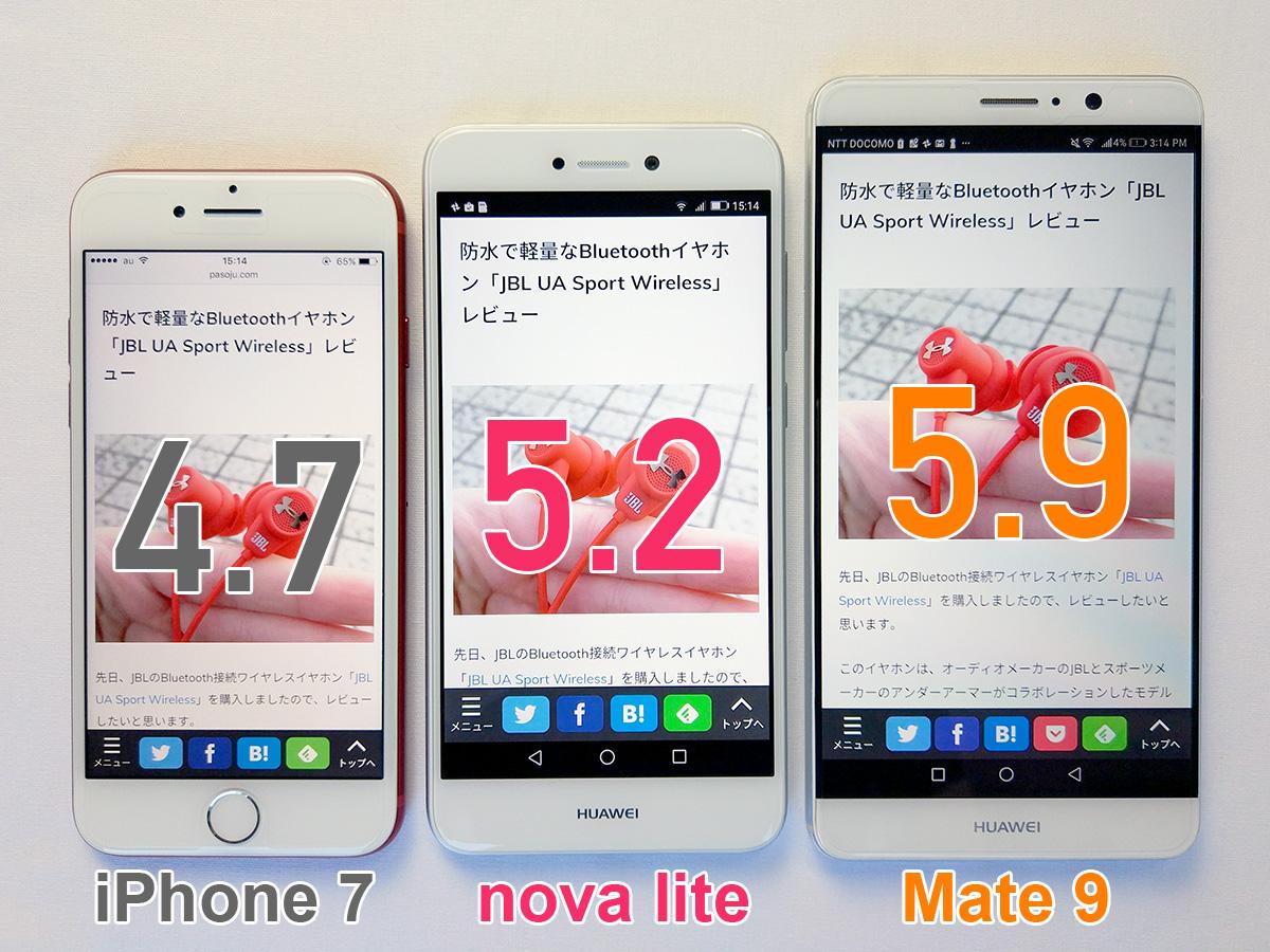 iPhone 7、Huawei nova lite、Mate 9 画面サイズ比較