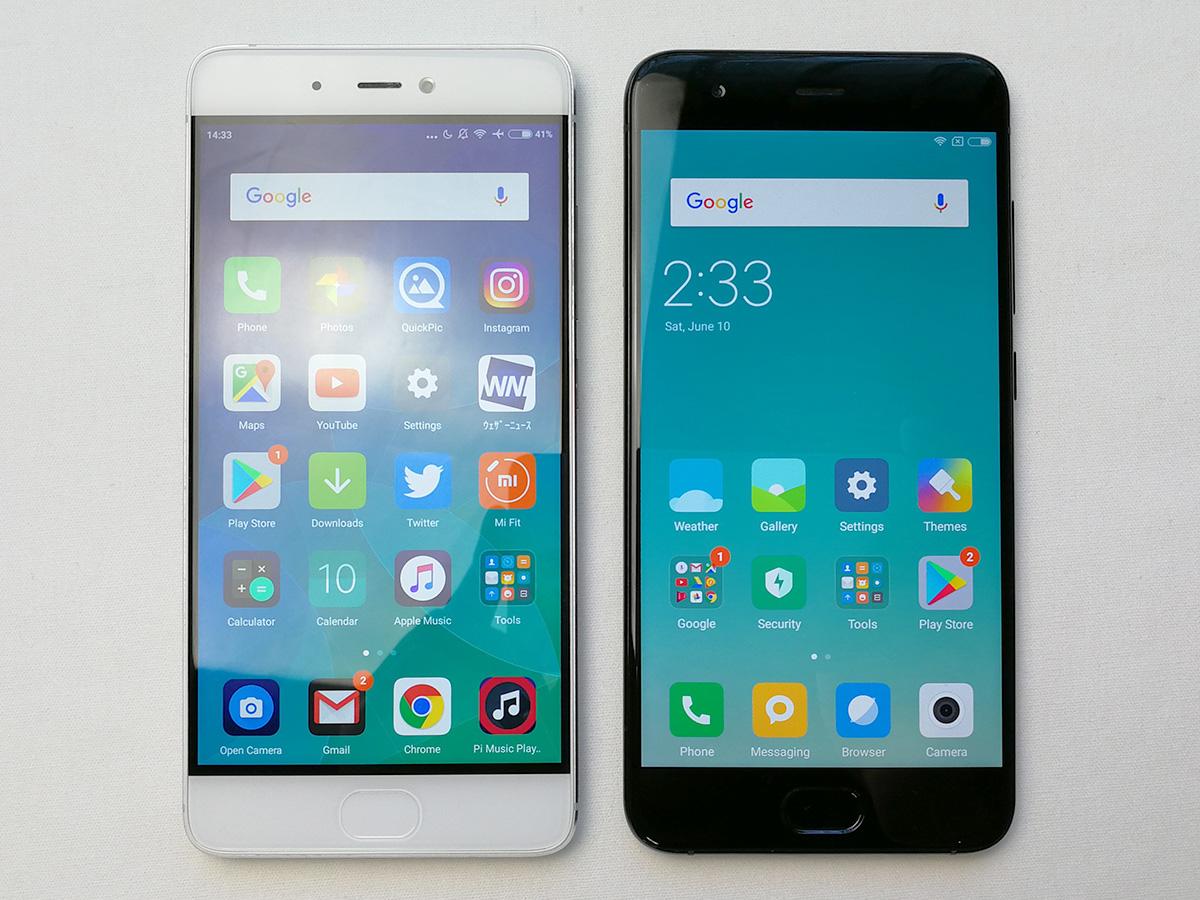 Xiaomi Mi6とMi5s 外観の比較