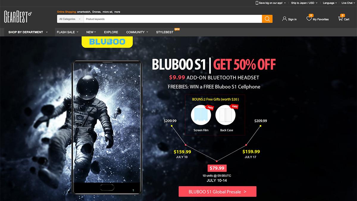 Bluboo S1 GearBestのプリセールページ