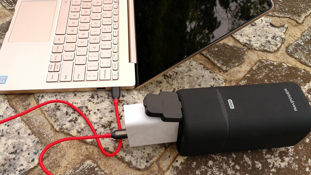 RAVPower 20100mAhバッテリー Xiaomi Mi Notebook Airを充電