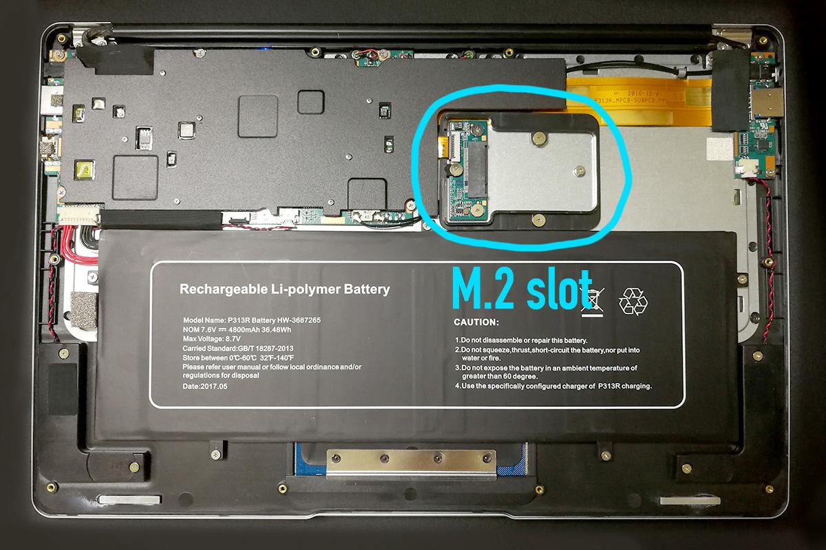 Jumper EzBook 3 Pro M.2スロット