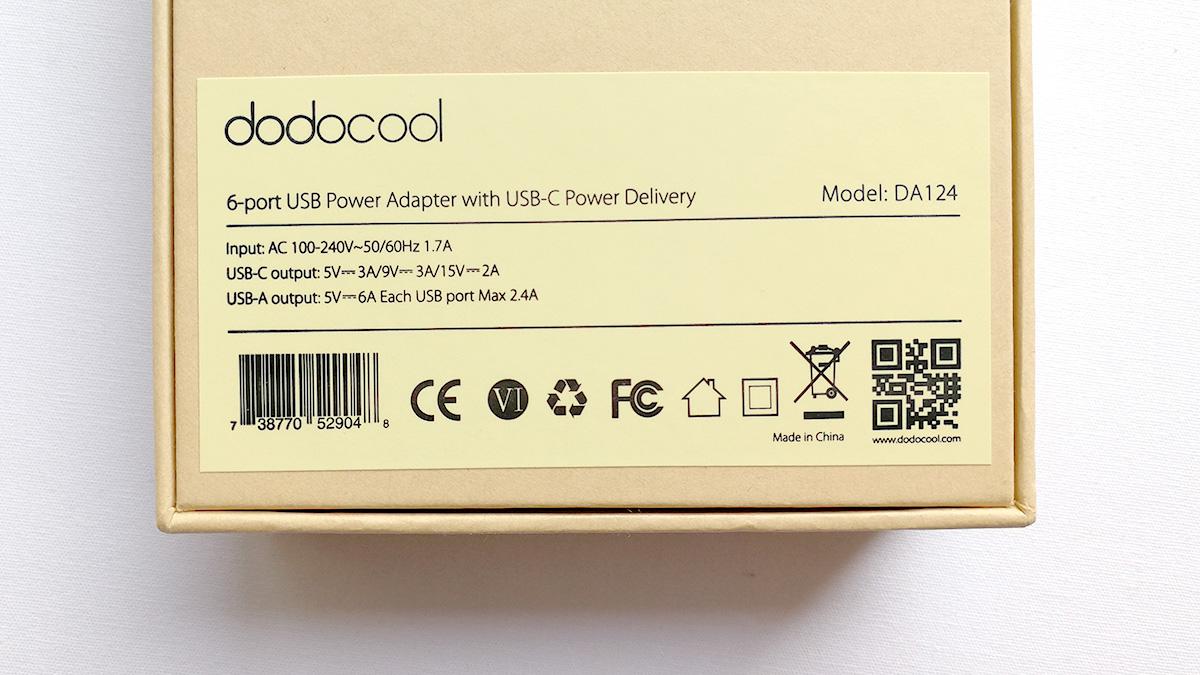 dodocool 60W 6ポートUSB充電器 パッケージ裏面