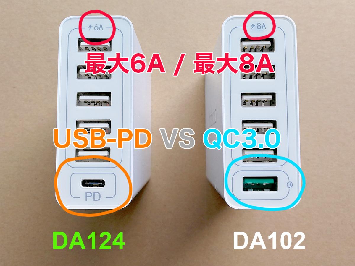 dodocool 60W 6ポートUSB充電器 DA102との比較