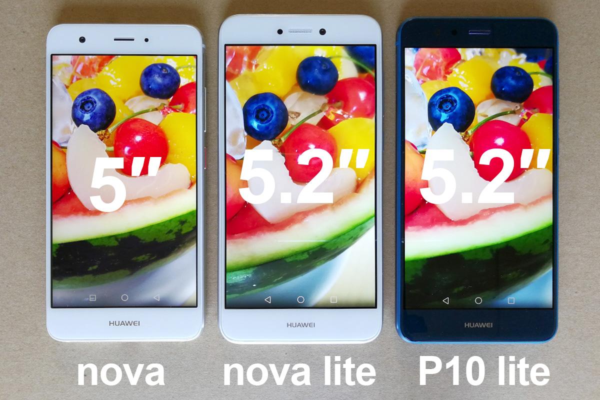 Huawei nova / nova lite / P10 lite サイズ比較