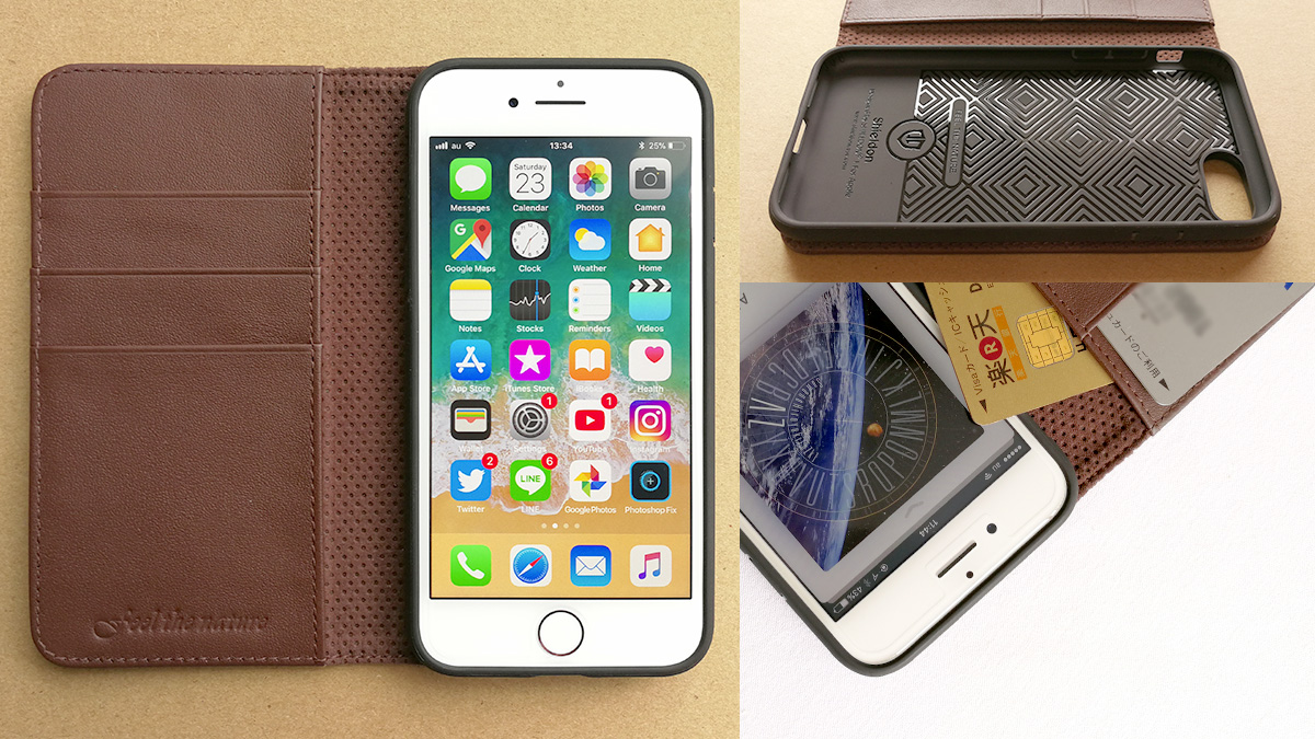 SHIELDON iPhone 8用 革製手帳型ケース