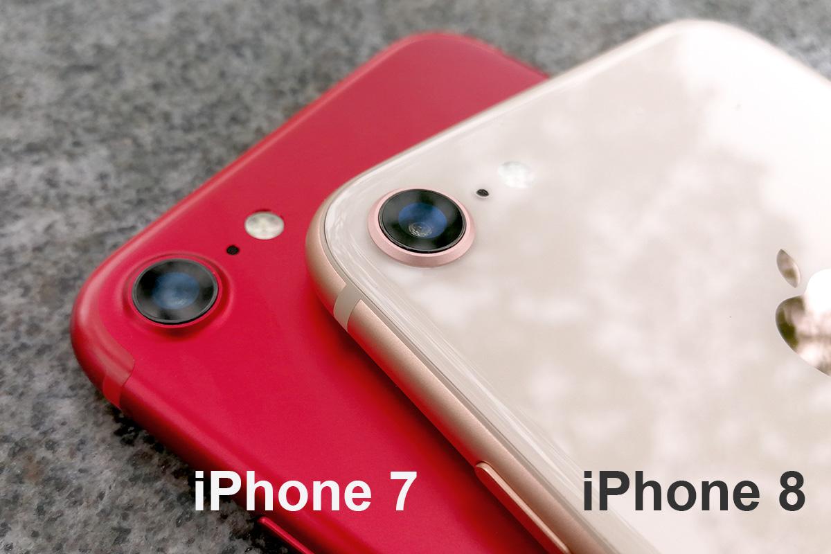 iPhone 8 vs iPhone 7 背面カメラ付近の比較