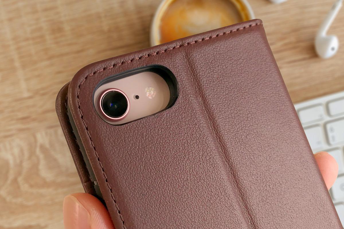 SHIELDON 本革製iPhone 8用手帳ケース 背面カメラ付近