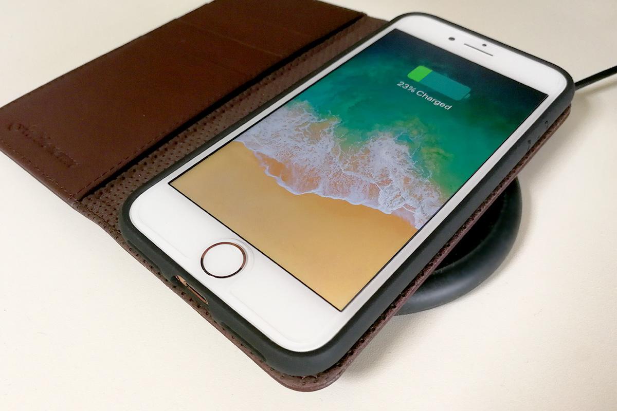 SHIELDON 本革製iPhone 8用手帳ケース ワイヤレス充電