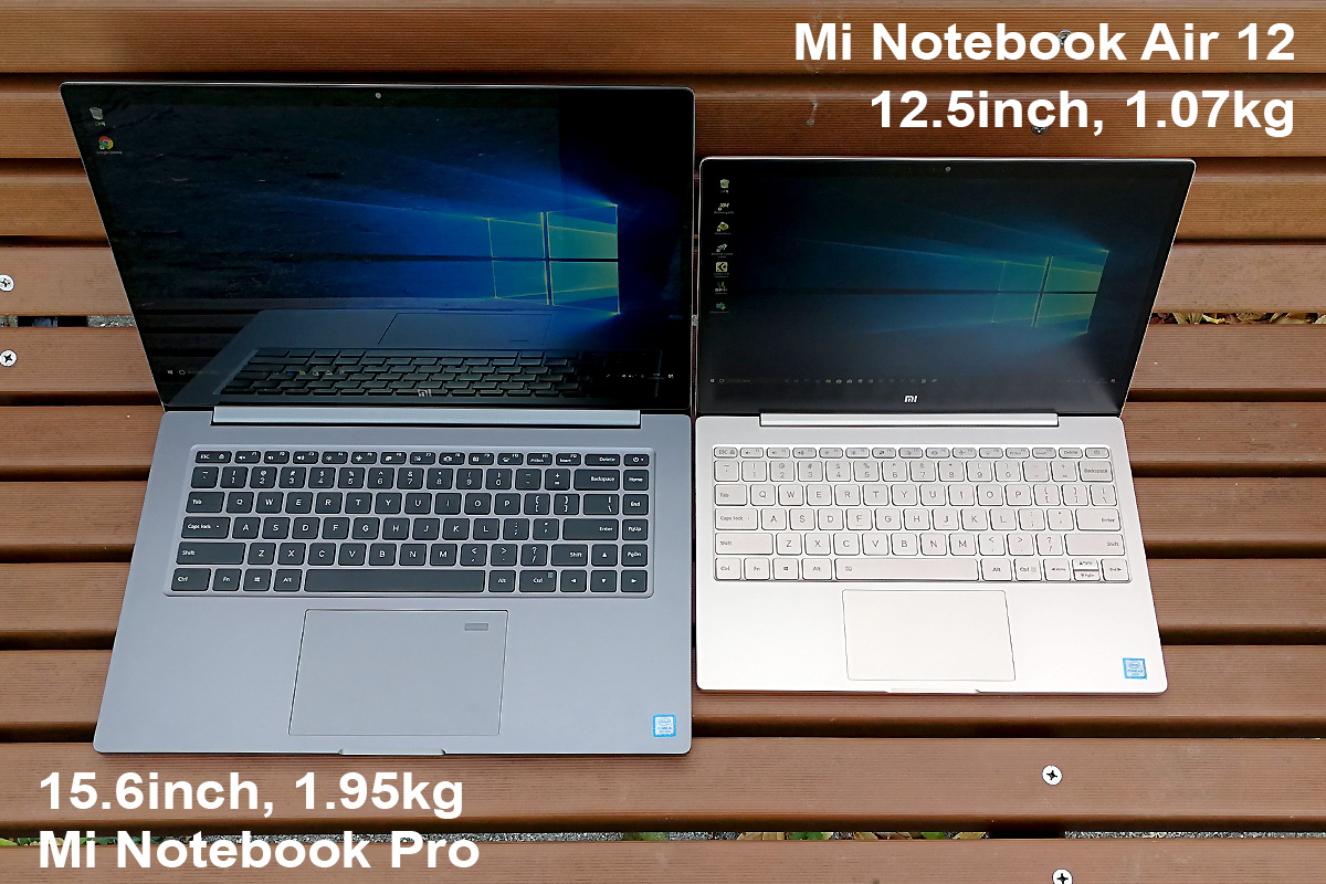 Xiaomi Mi Notebook Pro vs Air 12 比較