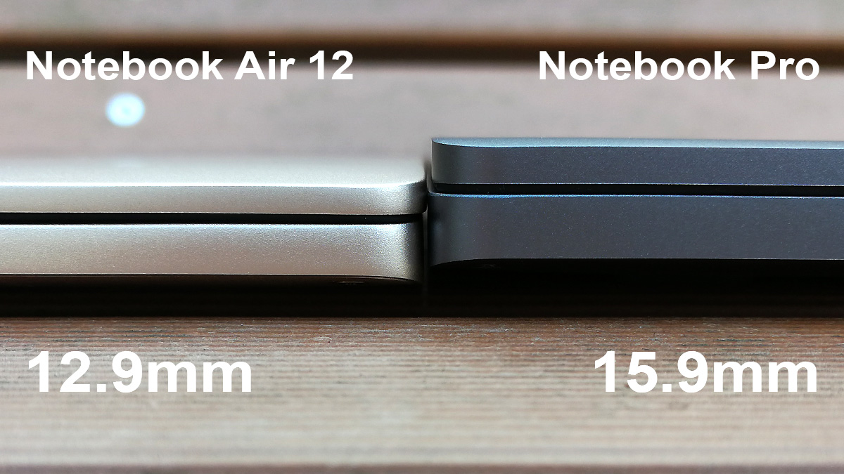 Xiaomi Mi Notebook Pro vs Air 12 厚み比較