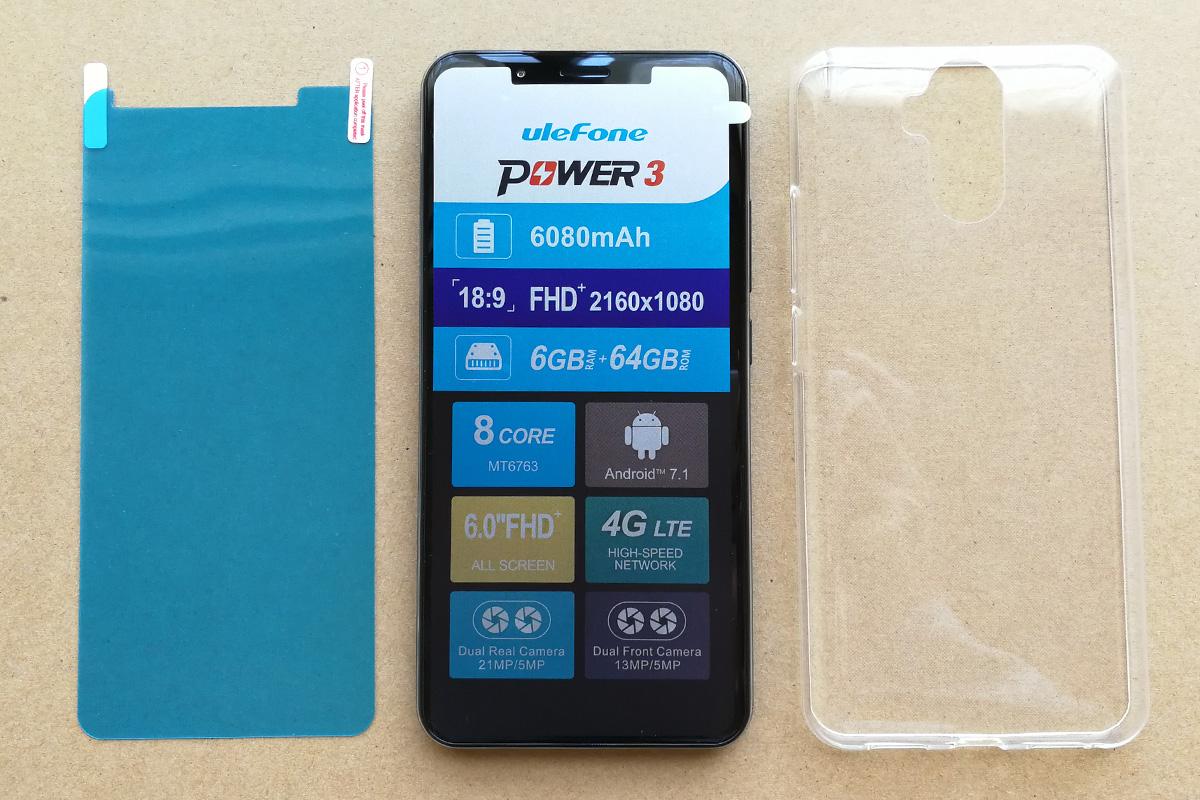 Ulefone Power 3 ケースとフィルム