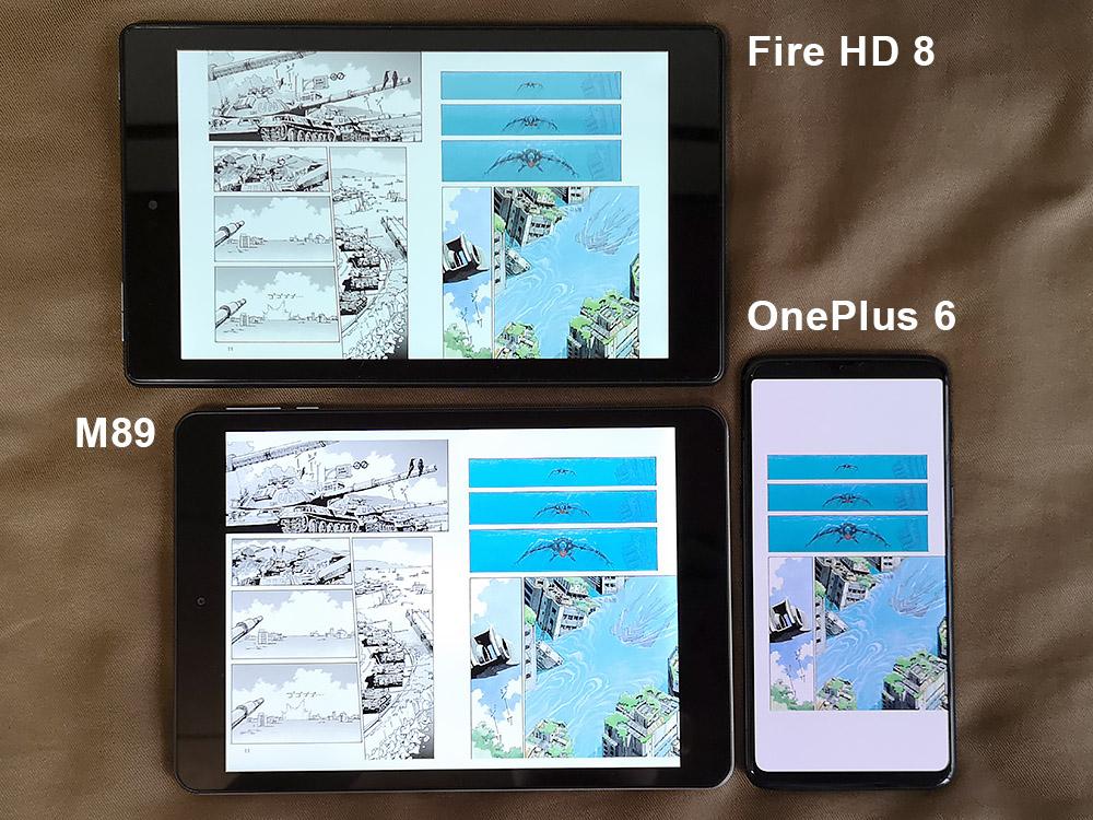 Teclast M89、Fire HD 8、OnePlus 6 漫画を表示した様子