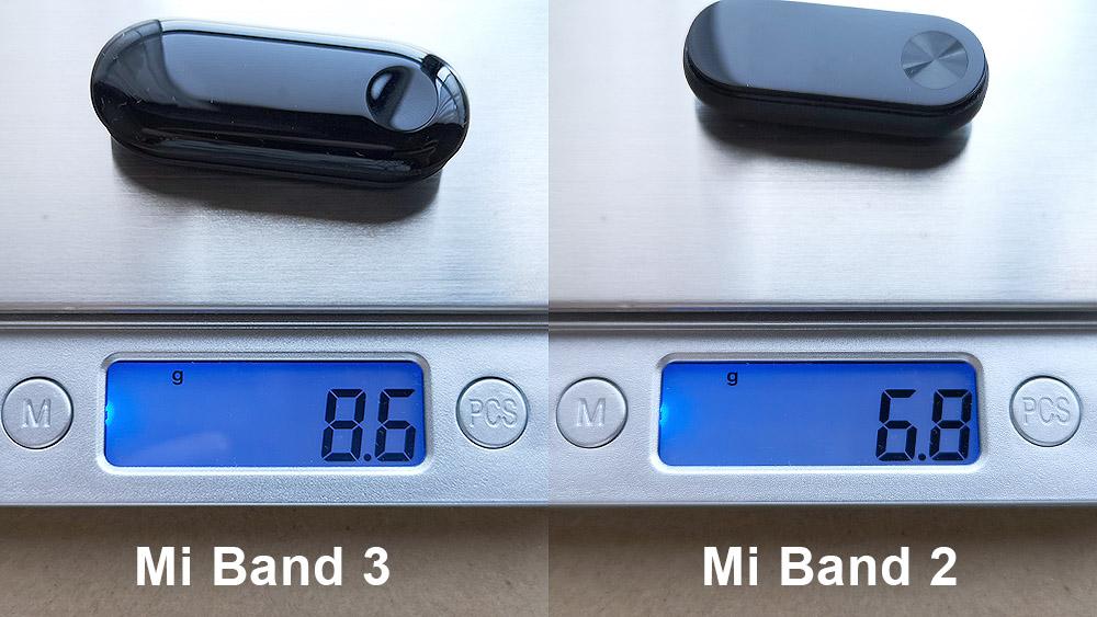 XIaomi Mi Band 3とMi Band 2の重量比較