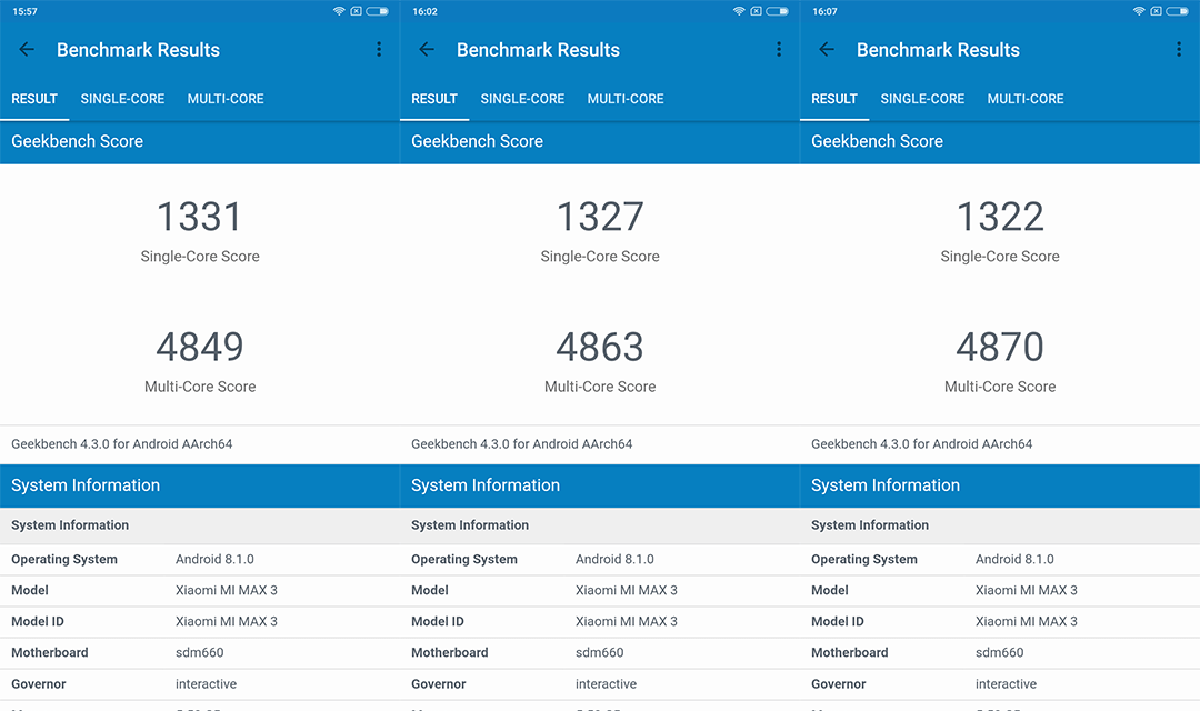 Xiaomi Mi Max 3 Geekbench 4